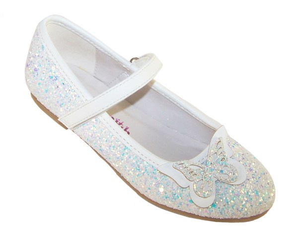 Girls white sparkly glitter ballerina party shoes with butterfly trim-0