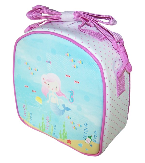 Girls pink and blue mermaid insulated lunch bag-5798