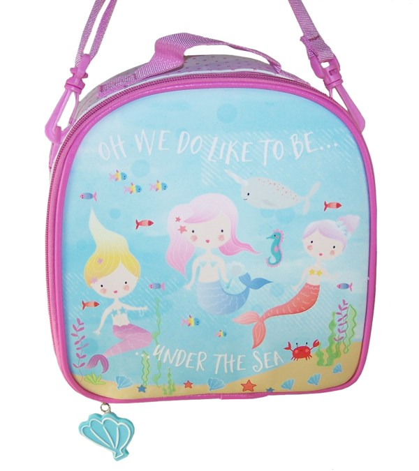 Girls pink and blue mermaid insulated lunch bag-5797