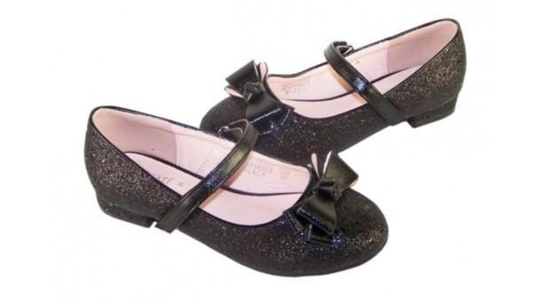 girls black glitter low heel party shoes