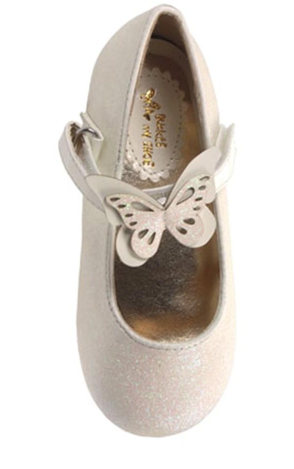 Girls ivory sparkly flower girl ballerina shoes-5811