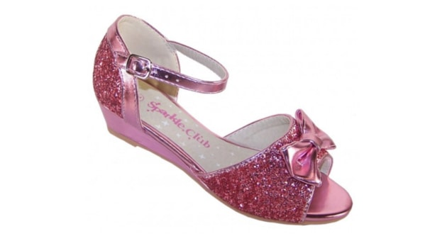 girls pink sparkly glitter wedge sandals party shoes