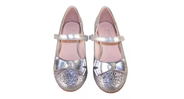 girls silver glitter sparkly party shoes