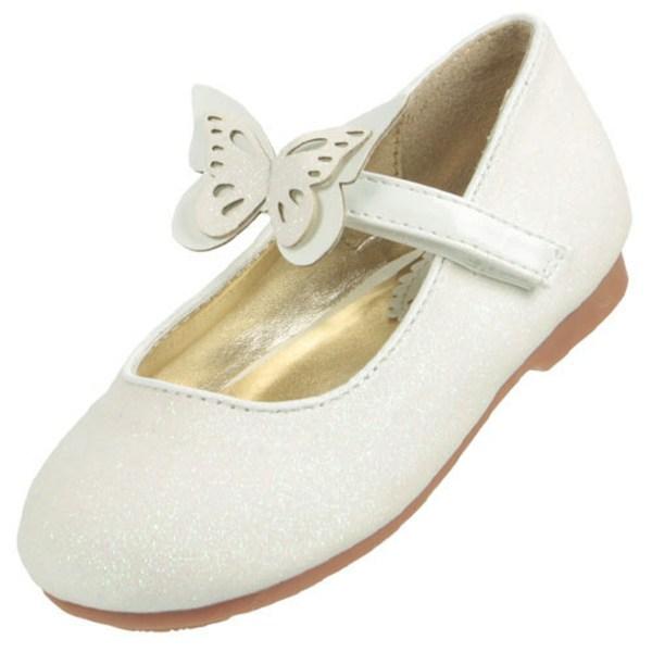 Girls ivory sparkly flower girl ballerina shoes-5806