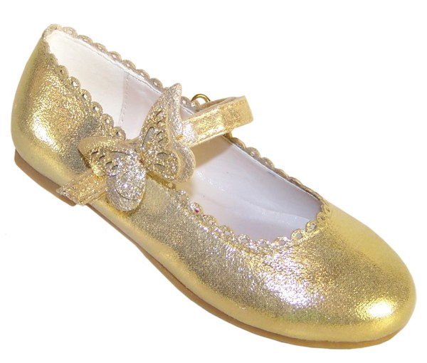 Girls gold shimmer ballerina party shoes-0
