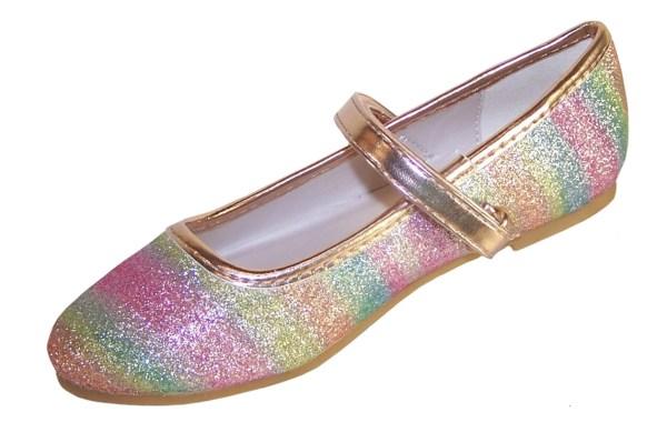 Girls sparkly rainbow coloured ballerina shoes -5864