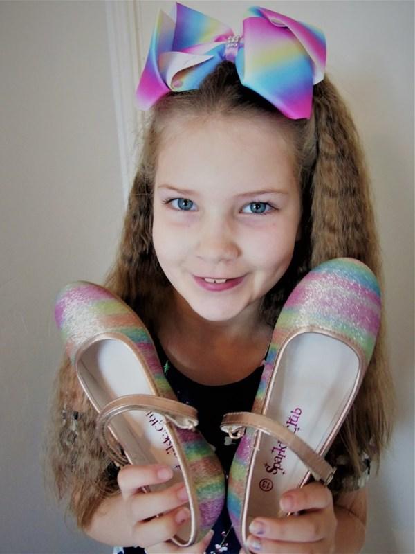 Girls sparkly rainbow coloured ballerina shoes -5925