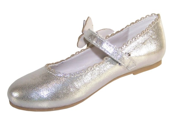 Girls silver shimmer ballerina party shoes-5860