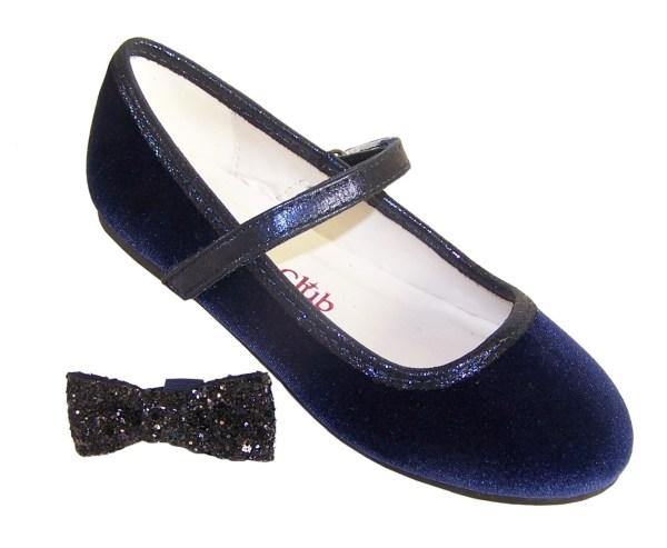 Girls dark blue velvet ballerina party shoes with matching glitter bag-5978