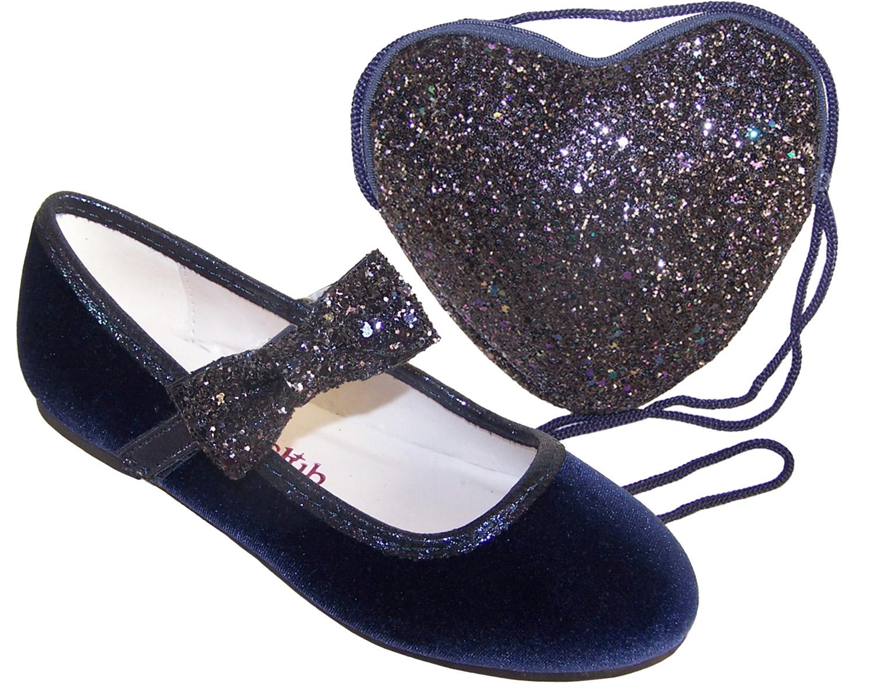 Blue Velvet Ballerina Party Shoes