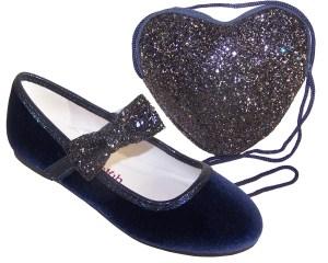 Girls dark blue velvet ballerina party shoes with matching glitter bag