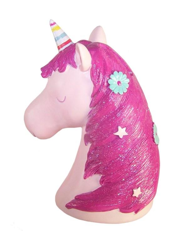 Childrens pink Unicorn money bank-6083
