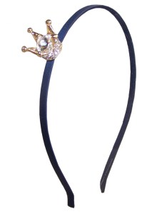 Girls dark blue headband with sparkly crown