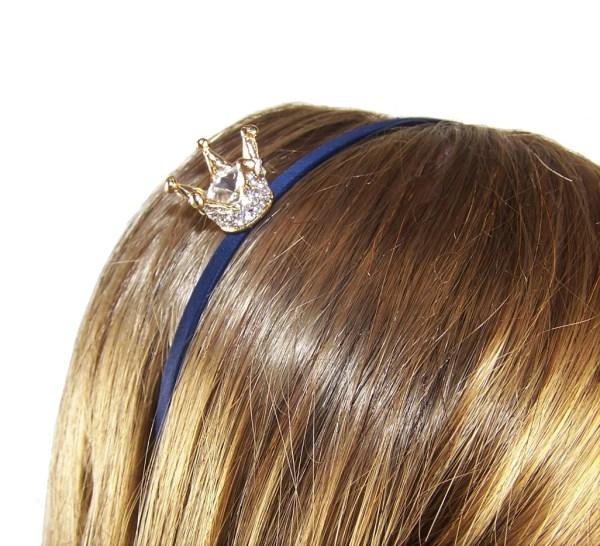 Girls dark blue headband with sparkly crown-5984