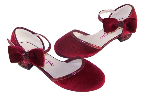 Girls deep red velvet sparkly low heeled party shoes-6082