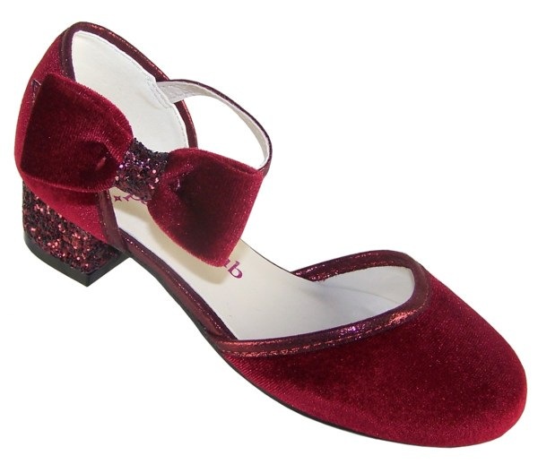 Girls deep red velvet sparkly low heeled party shoes-0