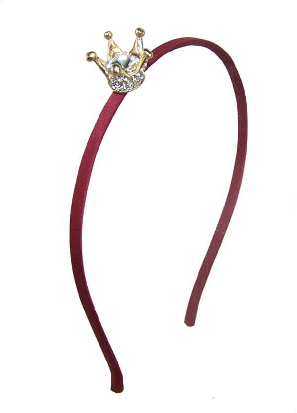 Girls red headband with sparkly crown-0