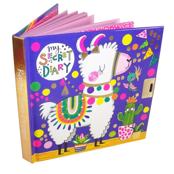 Girls lockable secret diary with a llama pattern-0