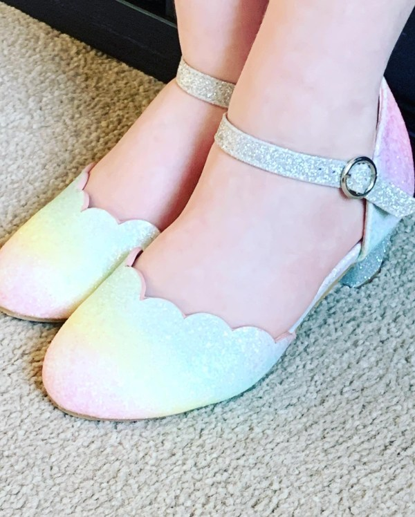 Girls pastel rainbow colours sparkly low heeled shoes -6137