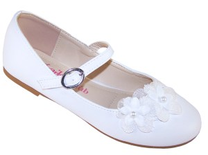 Girls white ballerina flower girl and bridesmaid shoes