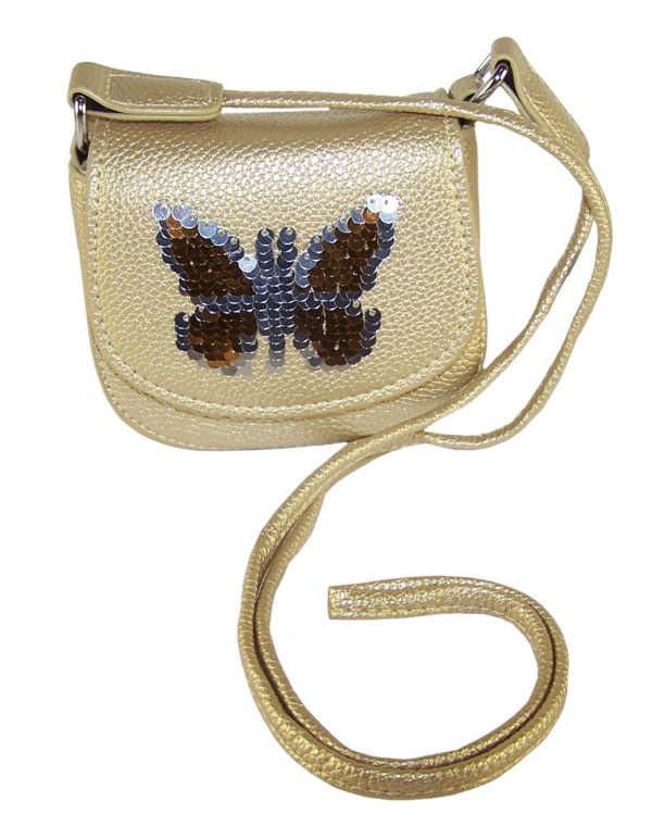 Girls gold sparkly handbag with sequin butterfly-0