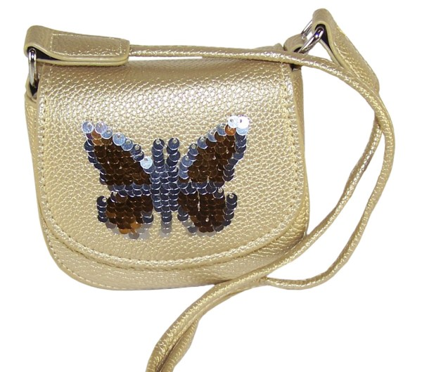 Girls gold sparkly handbag with sequin butterfly-6215