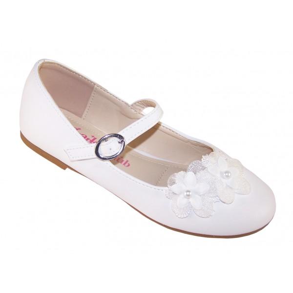 Girls white ballerina flower girl and bridesmaid shoes -6345