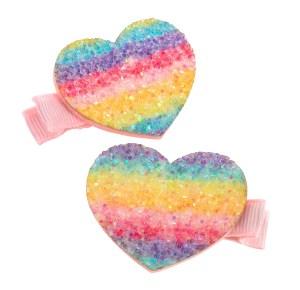 Girls sparkly rainbow glitter hair clips