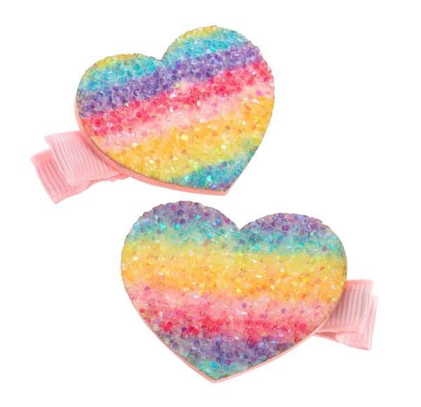 Girls sparkly rainbow glitter hair clips-0