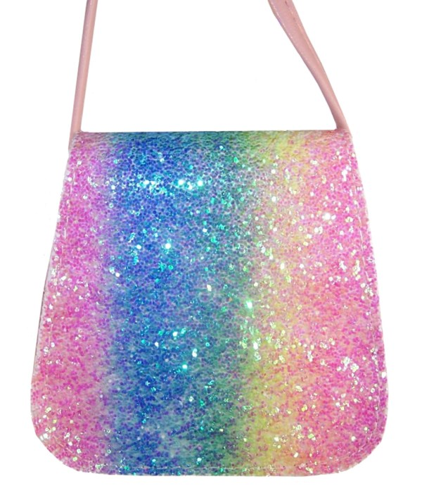 Girls sparkly rainbow glitter small bag-6111