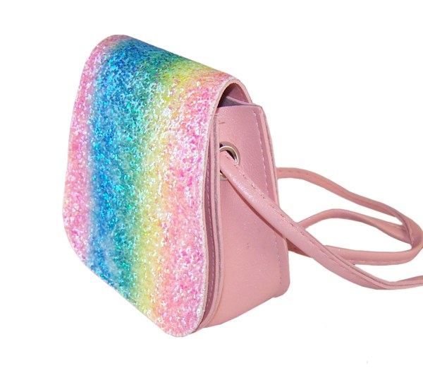 Girls sparkly rainbow glitter bag and accessories set-6106