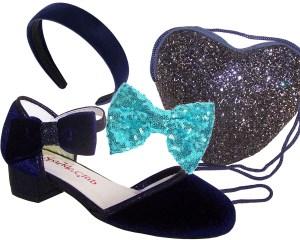 Girls dark blue velvet sparkly low heeled party shoes - Gift Set