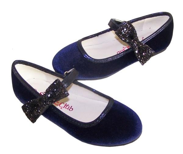 Girls dark blue velvet ballerina party shoes - Gift Set-6174