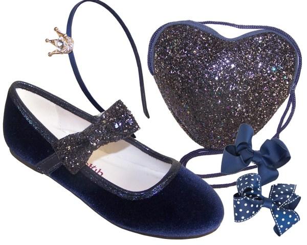 Girls dark blue velvet ballerina party shoes - Gift Set-0