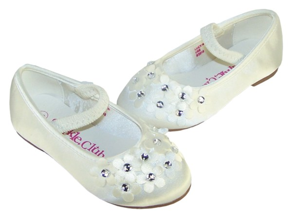 Ivory satin young flower girl and bridesmaid ballerina shoes-6274