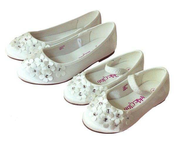 Ivory satin young flower girl and bridesmaid ballerina shoes-6281