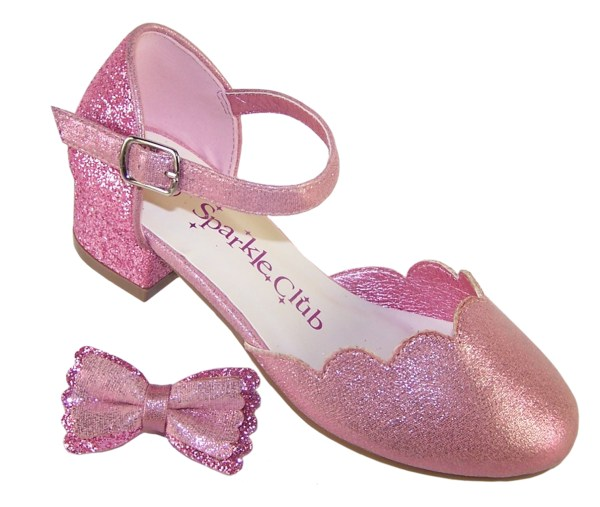 Girls pink sparkly glitter heeled party shoes-6415