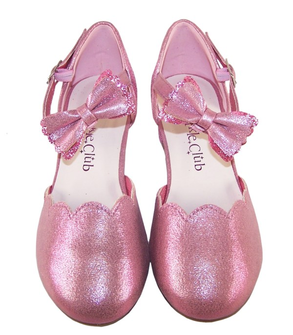 Girls pink sparkly glitter heeled party shoes-6414