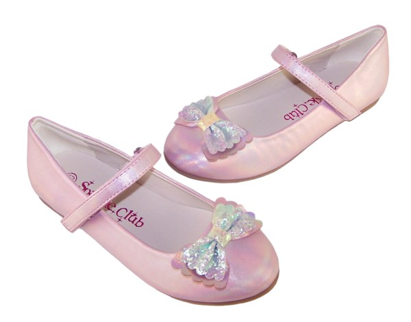 Girls pale pink sparkly ballerina party shoes-6436