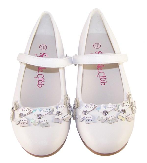 Girls white flower girl ballerinas with butterfly trims-6402