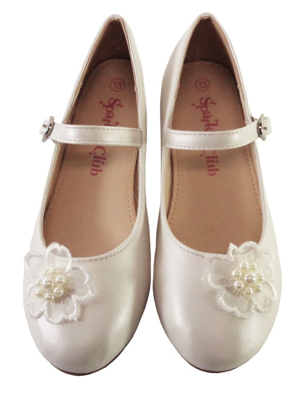 Girls ivory low heeled bridesmaid shoes with flower trim-6480