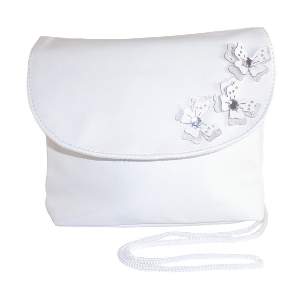 Childrens white handbag with butterfly tirms-6536