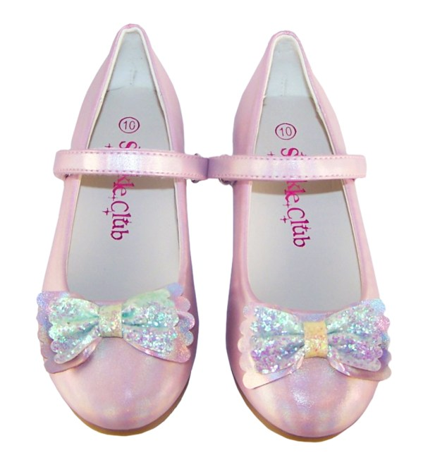 Pale pink sparkly ballerina party shoes and matching bag -6493