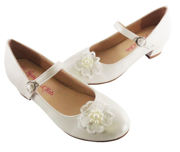 Girls ivory low heeled bridesmaid shoes and bag with flower trim-6544