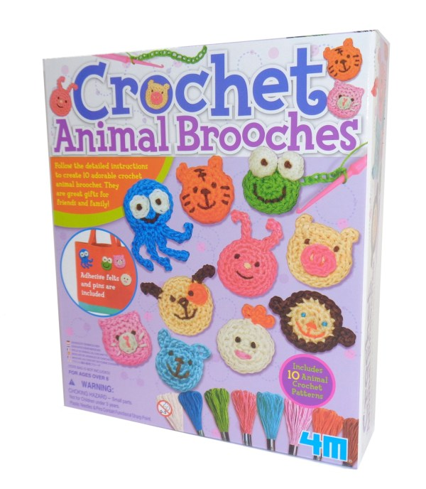 Childs crochet animal brooches craft kit-0