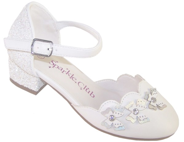 Girls white low heeled sparkly bridesmaid shoes and bag-6516