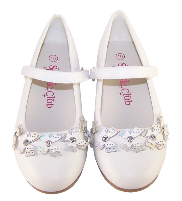 Girls white flower girl ballerinas and bag with butterfly trims-6503