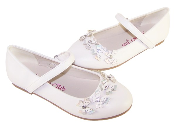 Girls white flower girl ballerinas and bag with butterfly trims-6502