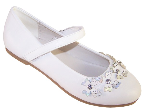 Girls white flower girl ballerinas and bag with butterfly trims-6501