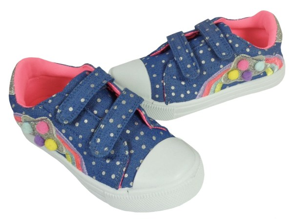 Young girls blue and rainbow sparkly trainers-6624
